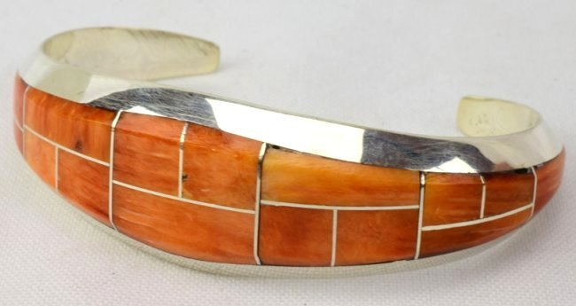 Native American Spiny Oyster Inlay Cuff Bracelet - 2