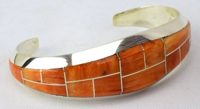 Native American Spiny Oyster Inlay Cuff Bracelet - 3
