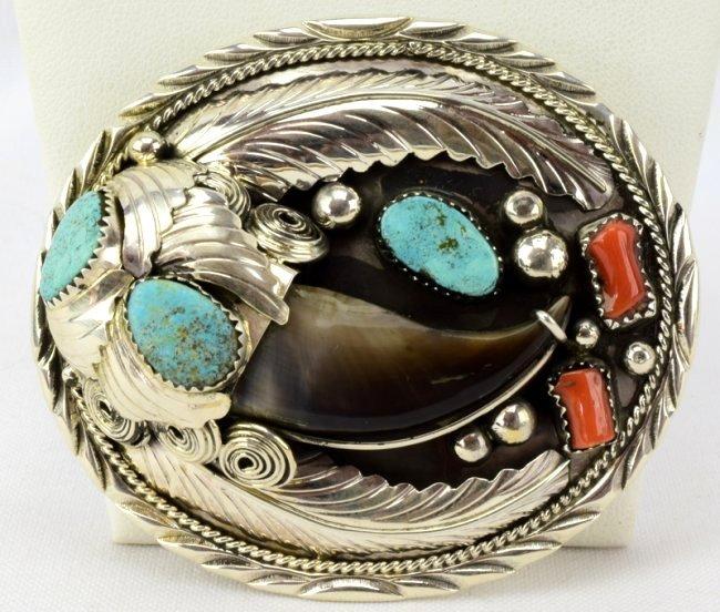 Sterling Silver Navajo Bear Claw Belt Buckle