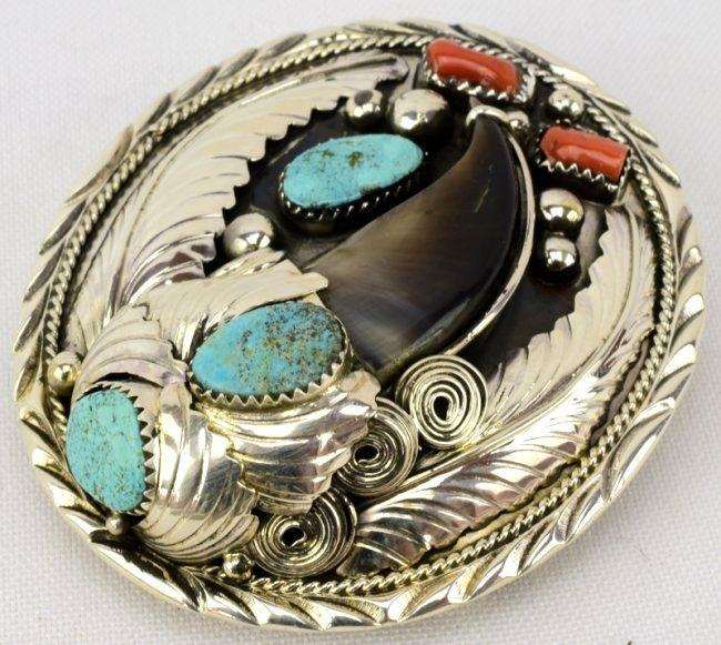 Sterling Silver Navajo Bear Claw Belt Buckle - 2
