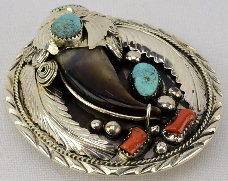 Sterling Silver Navajo Bear Claw Belt Buckle - 3