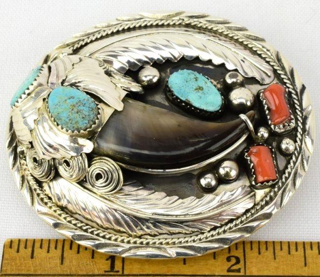 Sterling Silver Navajo Bear Claw Belt Buckle - 4