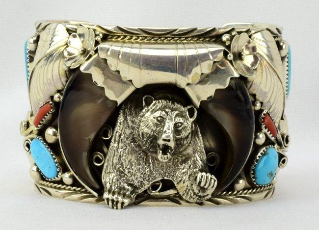 Navajo Sterling Lg. Bear Claw Cuff Bracelet