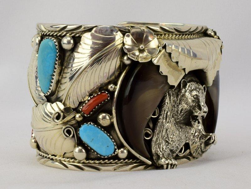 Navajo Sterling Lg. Bear Claw Cuff Bracelet - 2