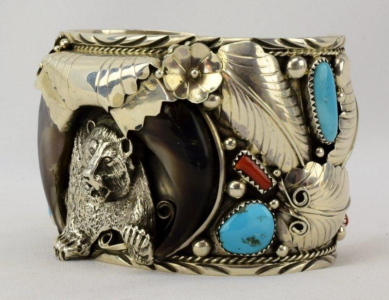 Navajo Sterling Lg. Bear Claw Cuff Bracelet - 3