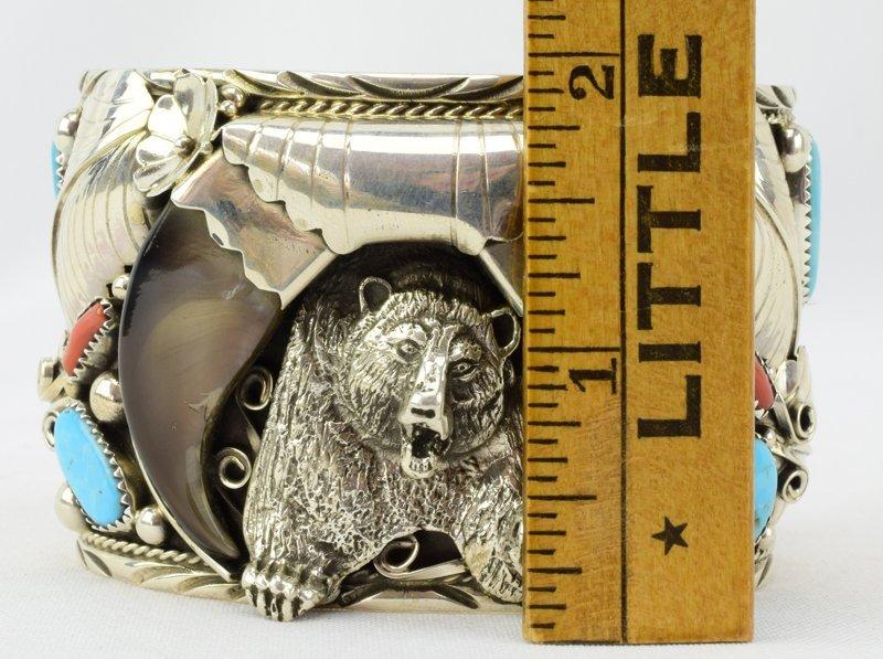 Navajo Sterling Lg. Bear Claw Cuff Bracelet - 5