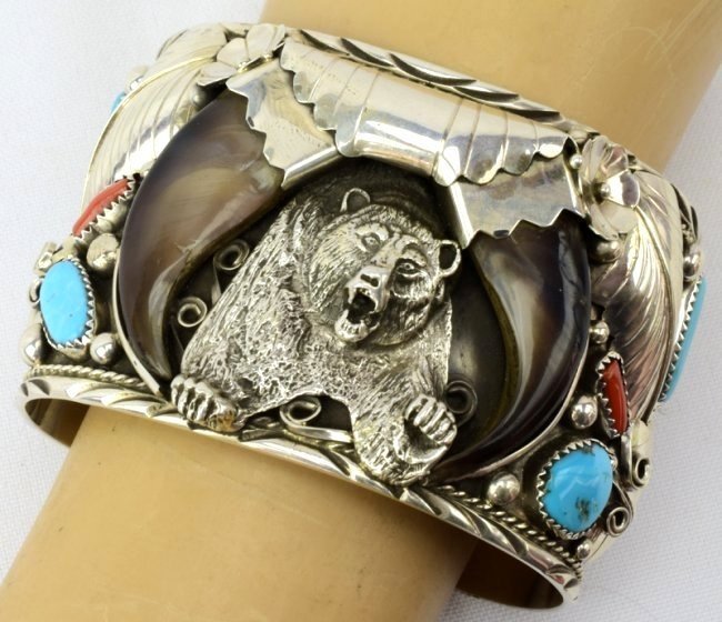 Navajo Sterling Lg. Bear Claw Cuff Bracelet - 6