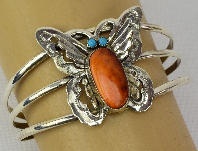 Navajo Sterling Silver Spiny Oyster Butterfly Bracelet