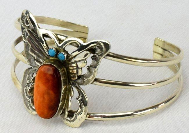 Navajo Sterling Silver Spiny Oyster Butterfly Bracelet - 2