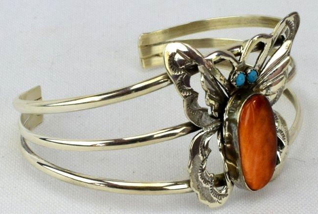 Navajo Sterling Silver Spiny Oyster Butterfly Bracelet - 3