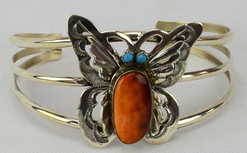 Navajo Sterling Silver Spiny Oyster Butterfly Bracelet - 4