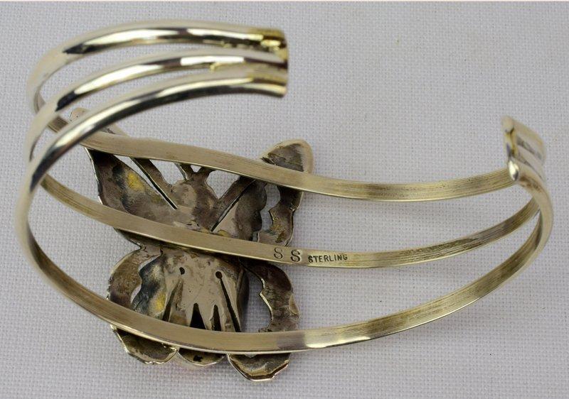 Navajo Sterling Silver Spiny Oyster Butterfly Bracelet - 5