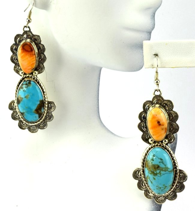 Navajo Sterling Silver Turquoise & Spiny Oyster Earring