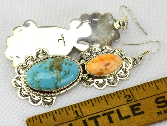 Navajo Sterling Silver Turquoise & Spiny Oyster Earring - 4