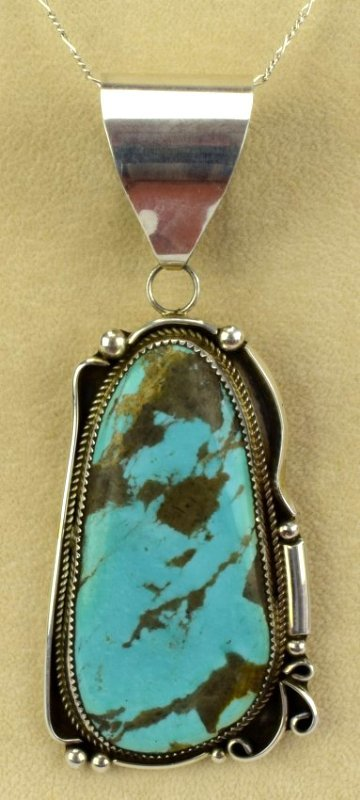 Navajo Sterling Silver Large Turquoise Pendant