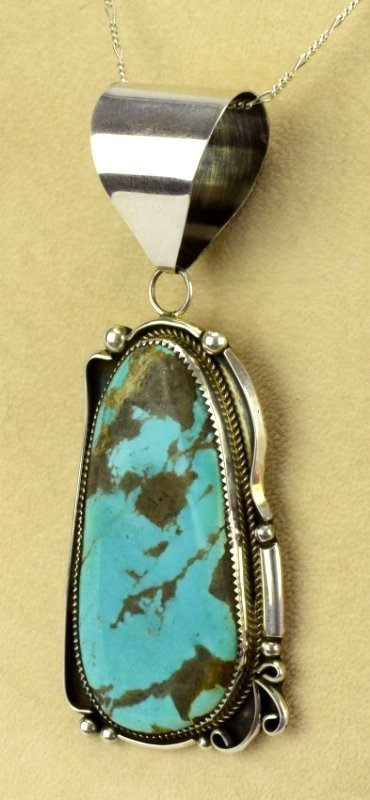 Navajo Sterling Silver Large Turquoise Pendant - 2