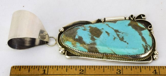 Navajo Sterling Silver Large Turquoise Pendant - 3