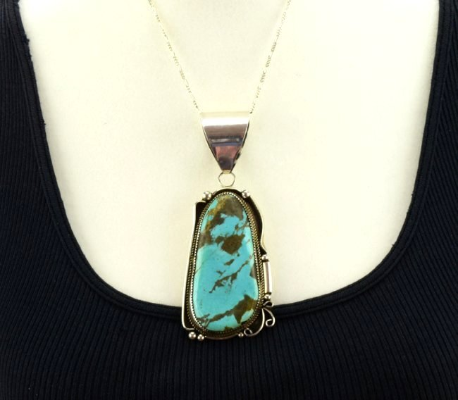 Navajo Sterling Silver Large Turquoise Pendant - 4