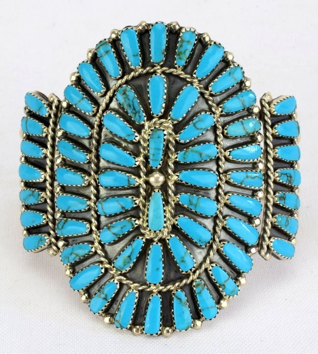 Navajo Sterling Silver Turquoise Cluster Cuff Bracelet