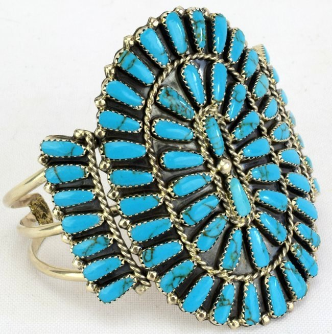 Navajo Sterling Silver Turquoise Cluster Cuff Bracelet - 2