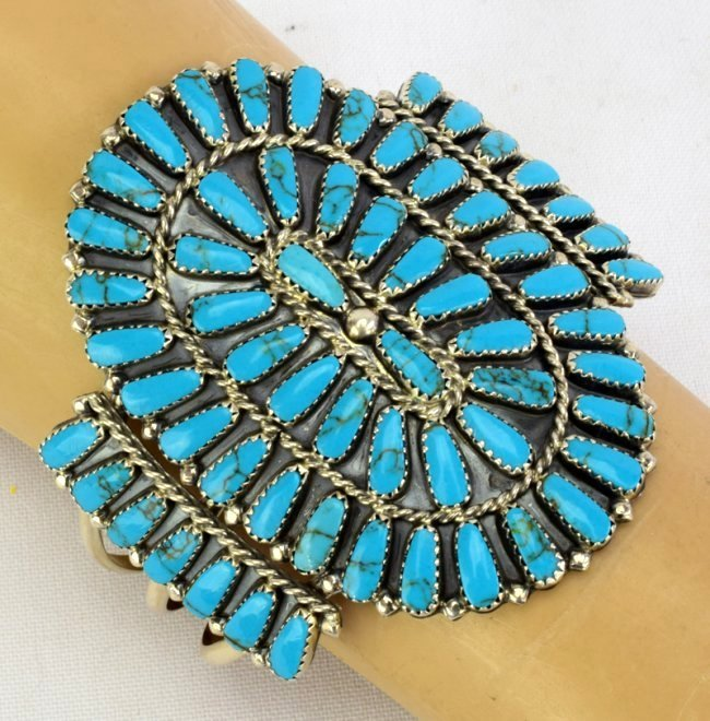 Navajo Sterling Silver Turquoise Cluster Cuff Bracelet - 4