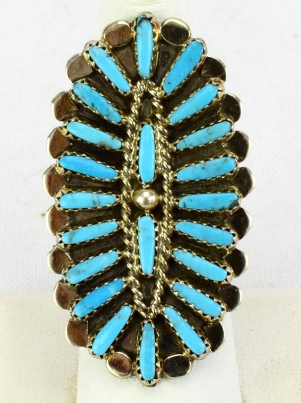 Native American Sterling Silver Cluster Turquoise Ring