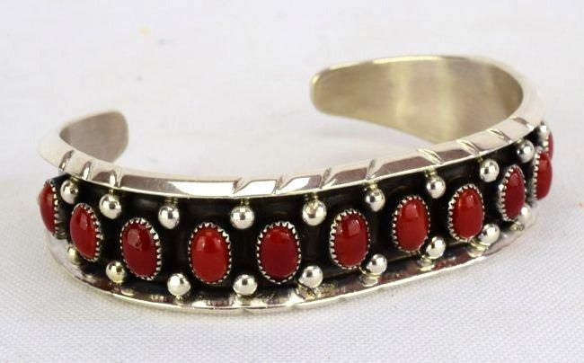 Native American Sterling Coral Cuff Bracelet - 2