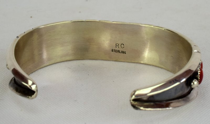 Native American Sterling Coral Cuff Bracelet - 3