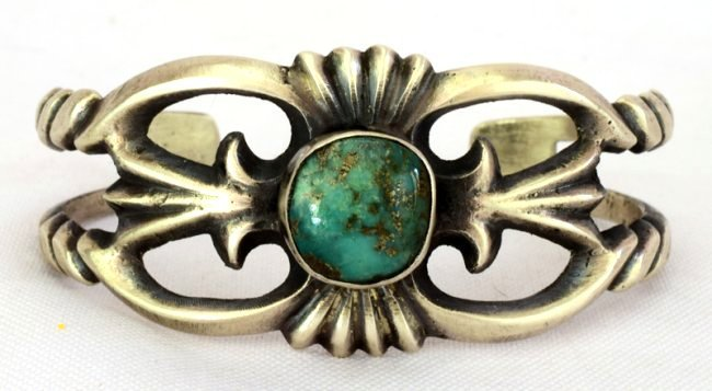Navajo Sterling Silver Sand Cast Cuff w/Turquoise