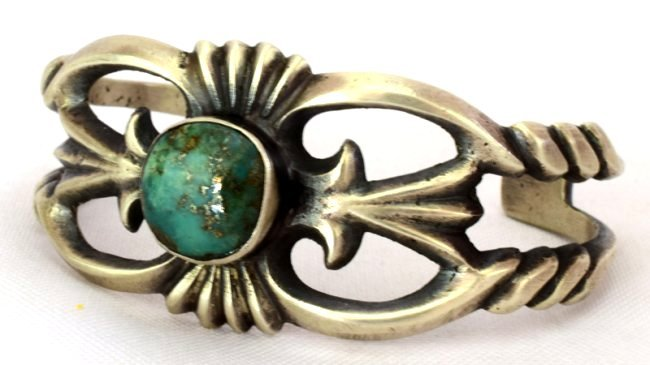 Navajo Sterling Silver Sand Cast Cuff w/Turquoise - 2