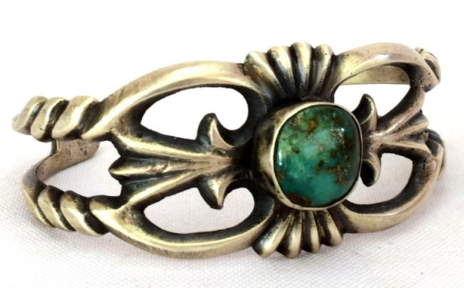 Navajo Sterling Silver Sand Cast Cuff w/Turquoise - 3