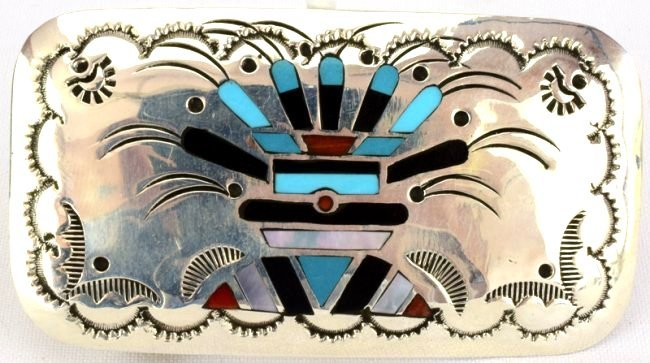 Native American  Sterling Silver Inlay Belt Buckle - 4