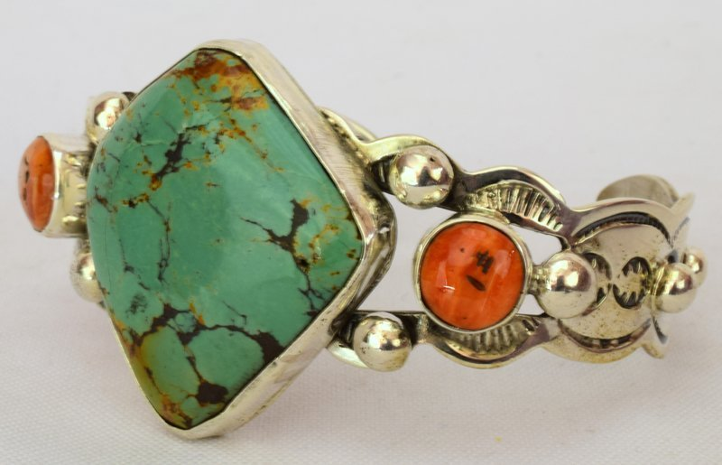 Navajo Sterling Turquoise Cuff Bracelet - 3