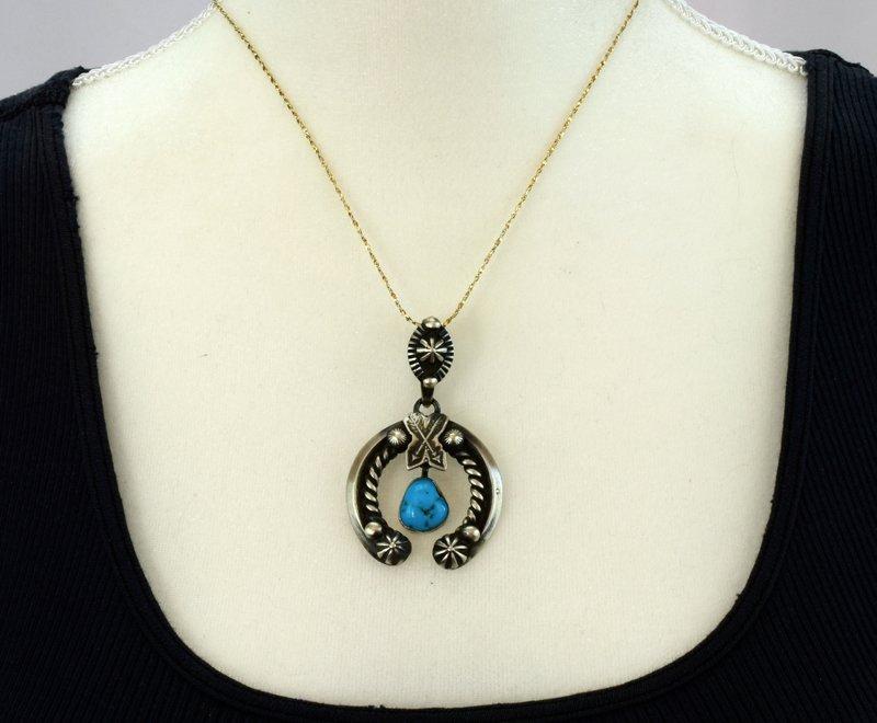 Navajo Sterling Silver Naja Pendant w/Turquoise - 4