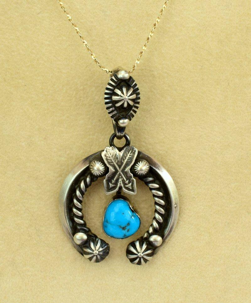 Navajo Sterling Silver Naja Pendant w/Turquoise - 5