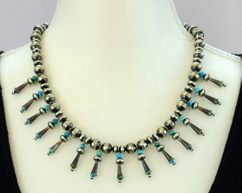 Navajo Pearls Necklace with Blossoms & Turquoise