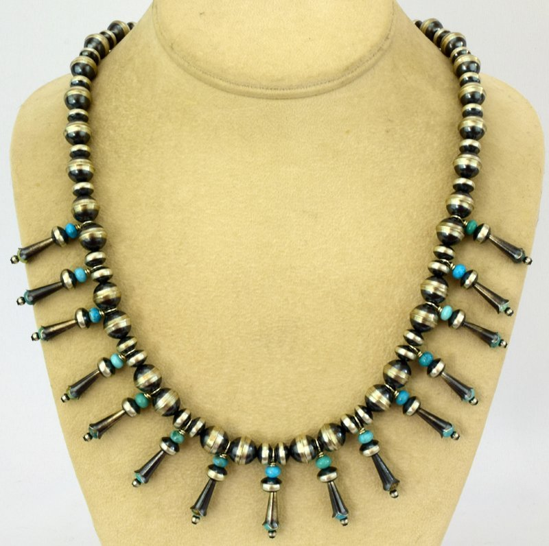 Navajo Pearls Necklace with Blossoms & Turquoise - 2