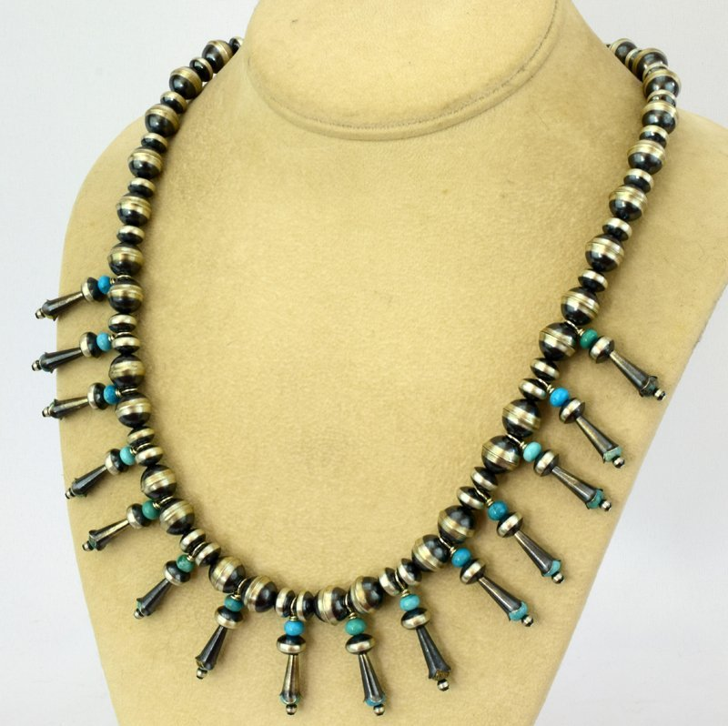 Navajo Pearls Necklace with Blossoms & Turquoise - 3