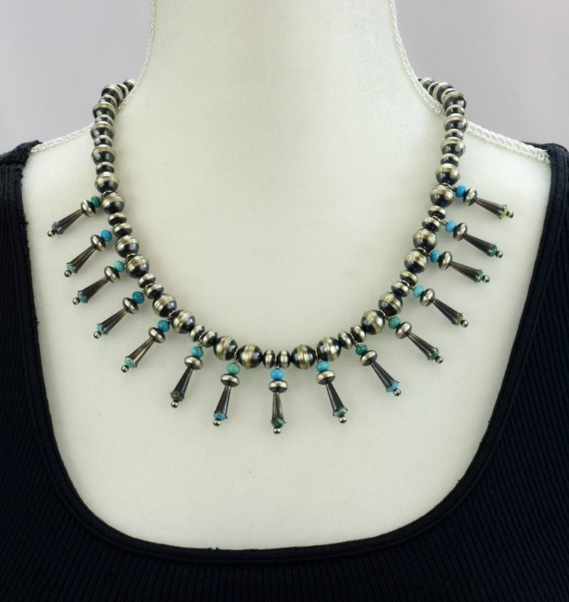 Navajo Pearls Necklace with Blossoms & Turquoise - 5