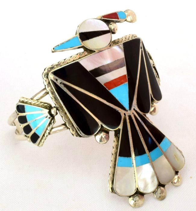 Sterling Zuni Inlay Thunderbird Cuff - Delgar Cellecion - 2