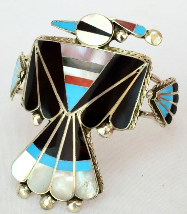 Sterling Zuni Inlay Thunderbird Cuff - Delgar Cellecion - 3