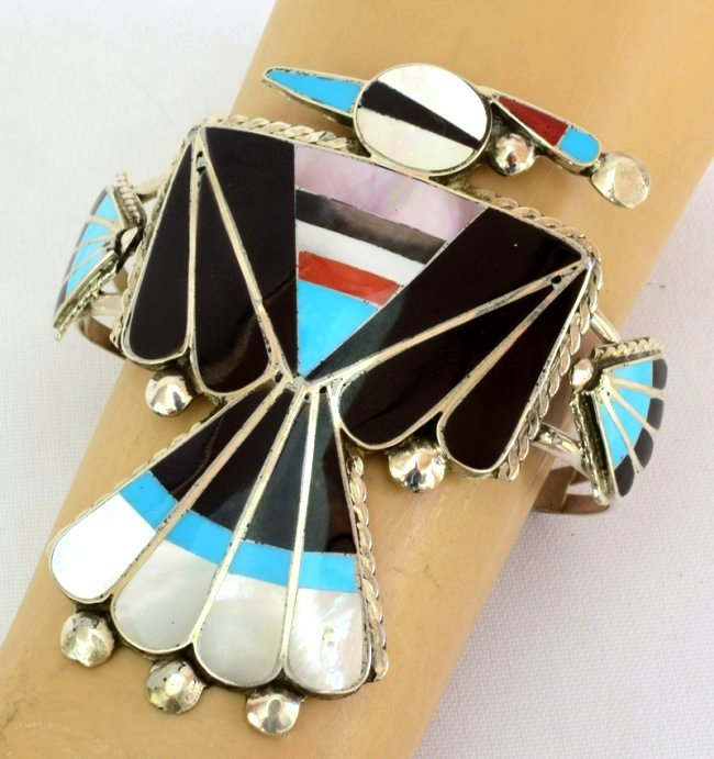 Sterling Zuni Inlay Thunderbird Cuff - Delgar Cellecion - 4