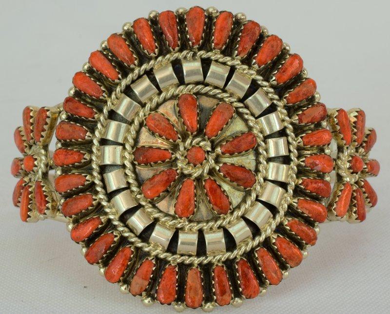 Navajo Sterling Spiny Oyster Cluster Cuff Bracelet