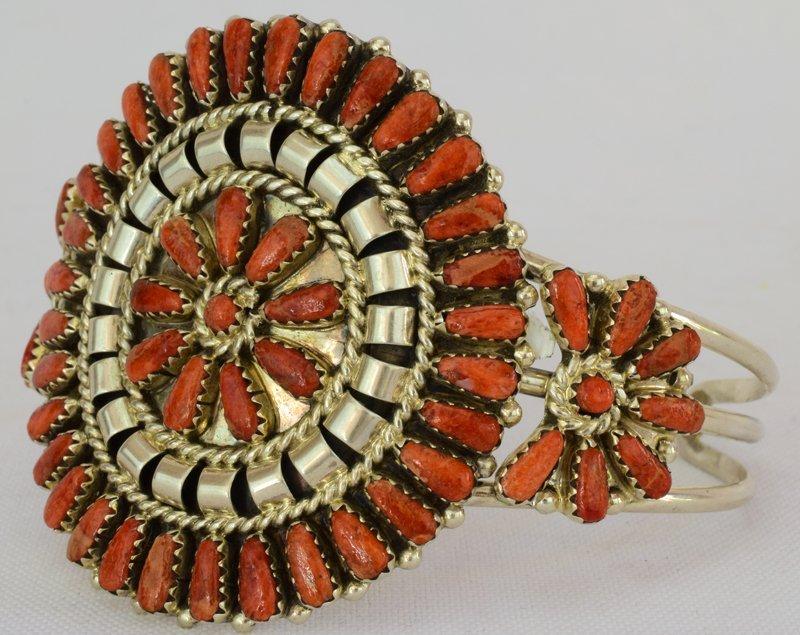 Navajo Sterling Spiny Oyster Cluster Cuff Bracelet - 2