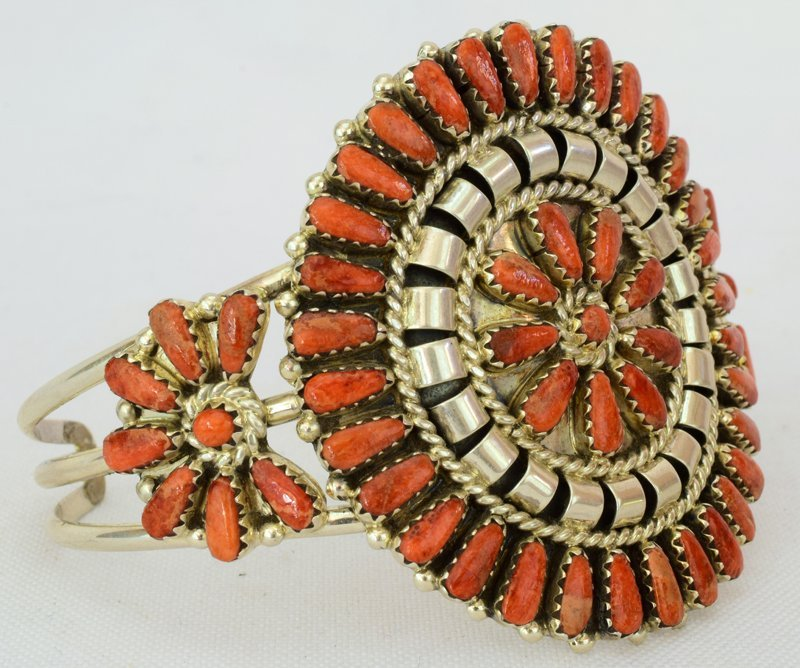 Navajo Sterling Spiny Oyster Cluster Cuff Bracelet - 3