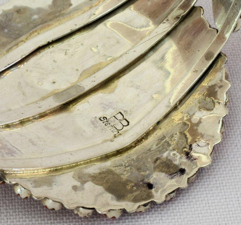 Navajo Sterling Spiny Oyster Cluster Cuff Bracelet - 4