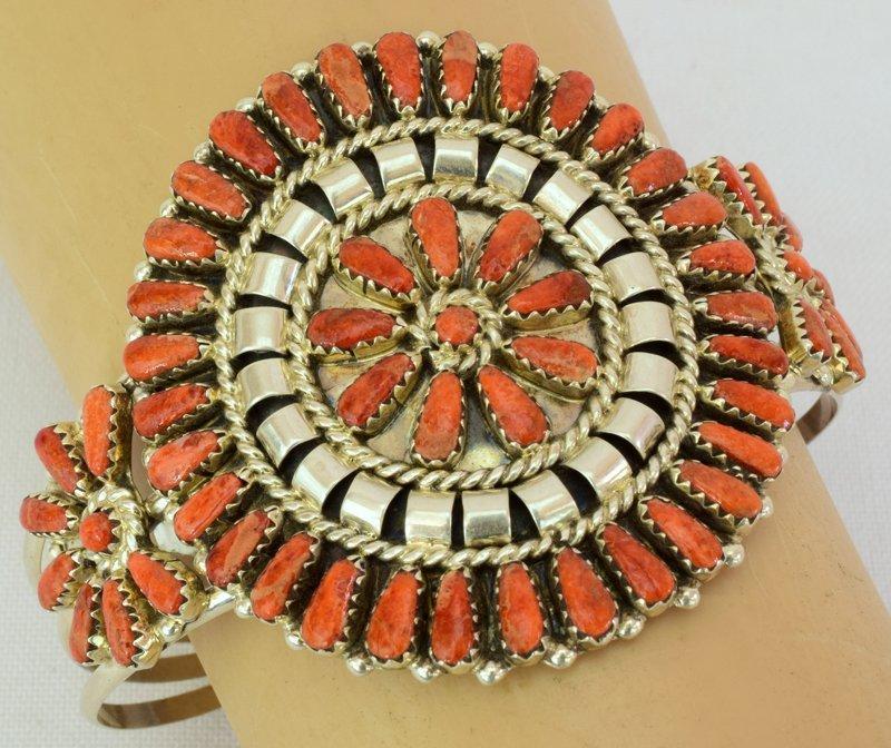 Navajo Sterling Spiny Oyster Cluster Cuff Bracelet - 5