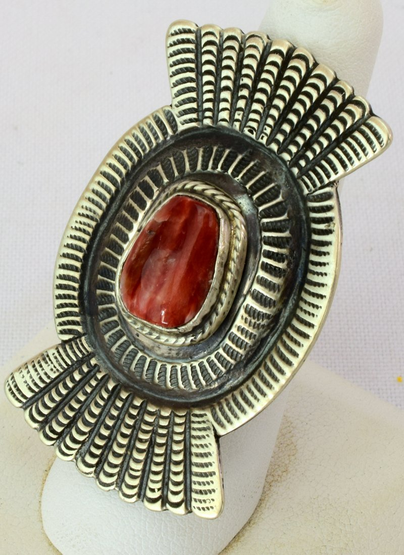 Native American Sterling Spiny Oyster Ring - 2