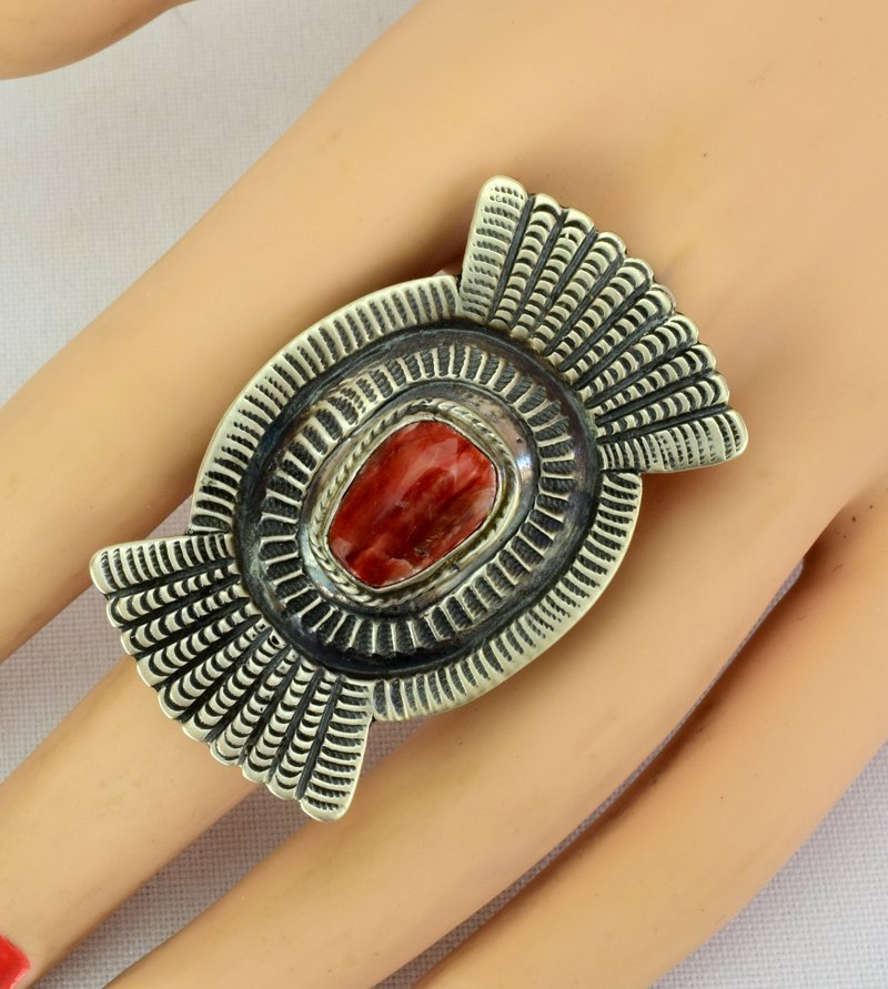 Native American Sterling Spiny Oyster Ring - 4