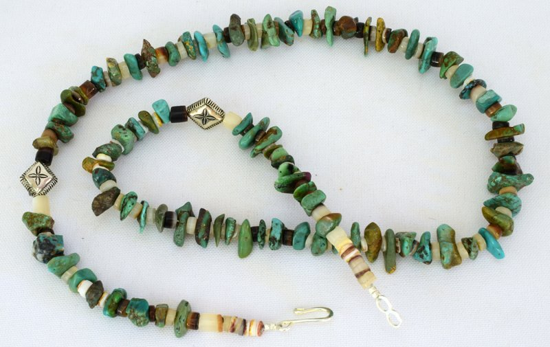 Navajo Natural Turquoise Nugget Necklace - 3